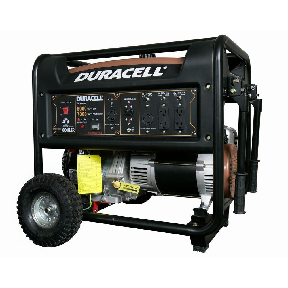 duracell 8000 watt gasoline powered portable generator with 1 kohler engine and recoil start. Black Bedroom Furniture Sets. Home Design Ideas