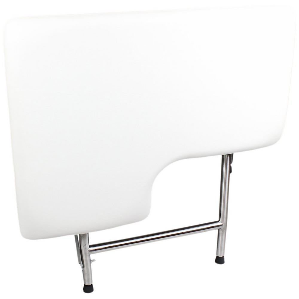 Right Hand L-Shaped, Padded Folding Shower Seat with Adjustable Legs in