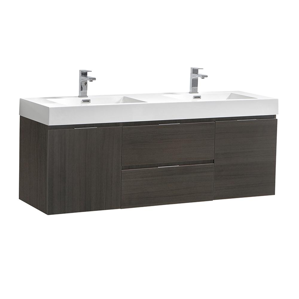 Fresca Valencia 60 in. W Wall Hung Bathroom Vanity in Gray Oak with Acrylic Vanity Top in White