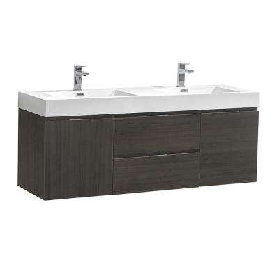 Valencia 60 in. W Wall Hung Bathroom Vanity in Gray Oak with Acrylic Vanity Top in White