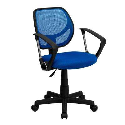 Blue Mesh Swivel Task Chair With Arms