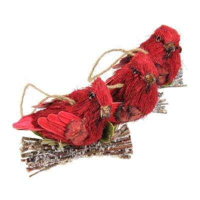 Red Glitter Bird Clip-On Christmas Ornaments (Set of 3)