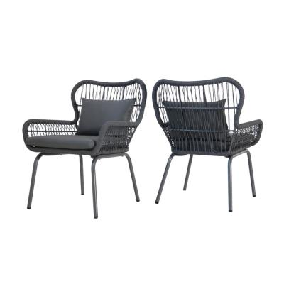Tolovana Gray Metal and Rope Club Chairs with Gray Cushions (Set of 2)