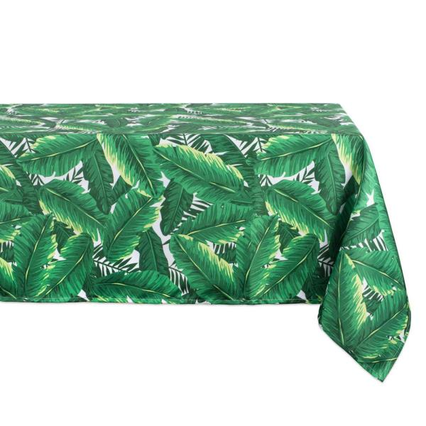 Outdoor 60 in. x 120 in. Banana Leaf Polyester Tablecloth