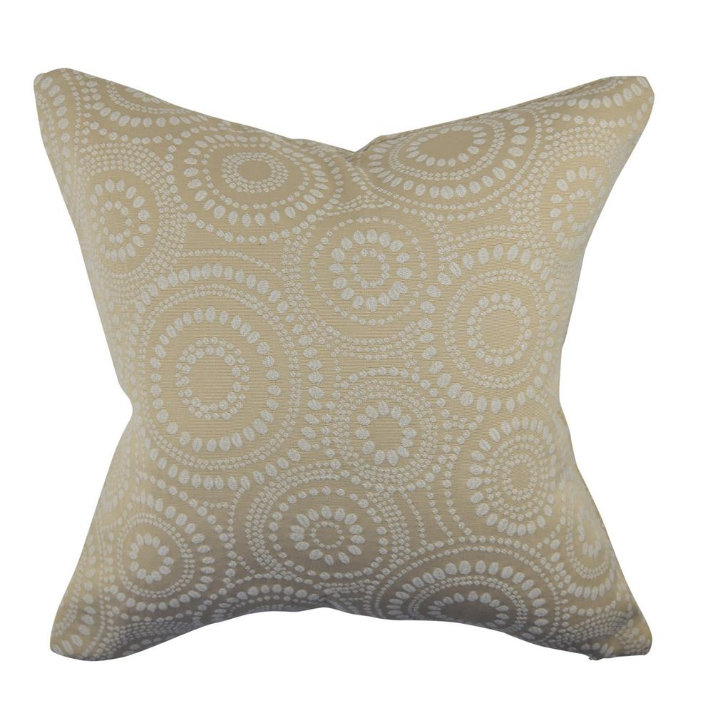 Cream Circle Link Dotted Throw Pillow