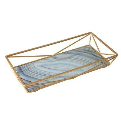 Blue Agate Design Geometric Vanity Tray in Gold