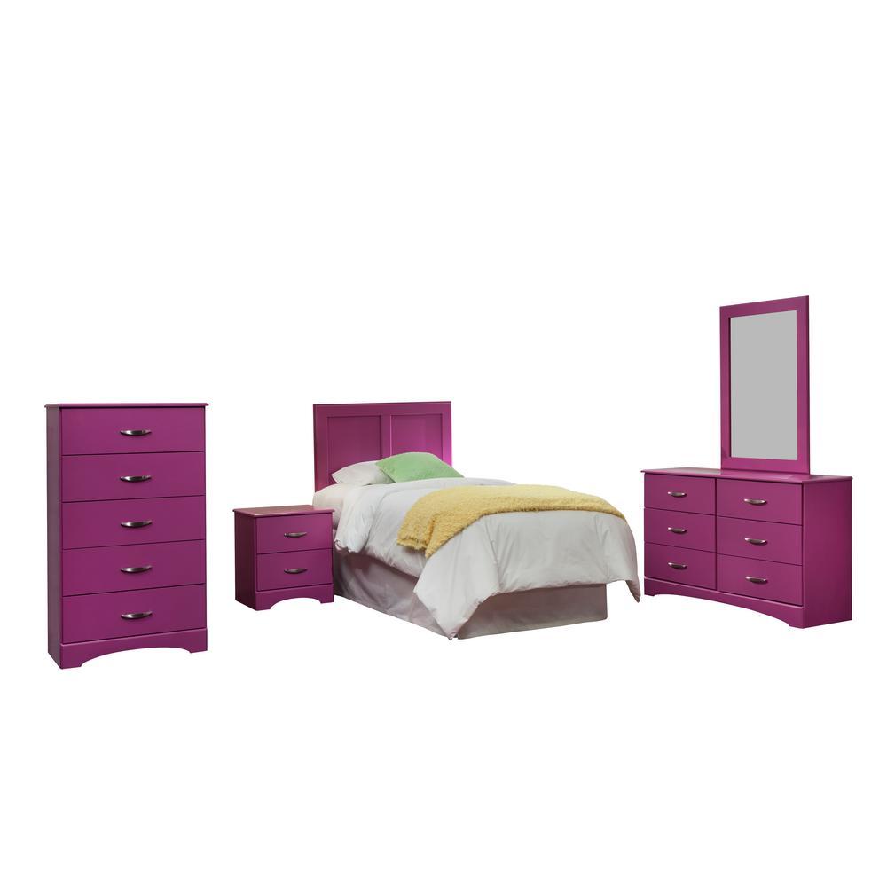 Raspberry Collection 171K5T 5-Piece Raspberry Twin Bedroom Set