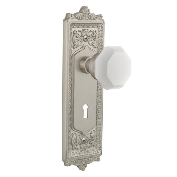 Nostalgic Warehouse Egg And Dart Plate With Keyhole 2 3 8 In Backset Satin Nickel Privacy Bed Bath Waldorf White Milk Glass Door Knob 749337 The Home Depot