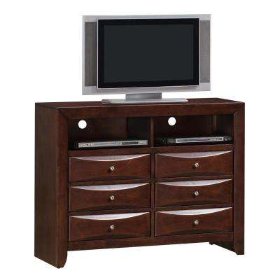 Emily Mahogany 6-Drawer Media Chest