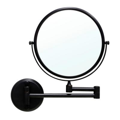 8 in. Two-Sided 1X and 3X Brass Magnifying Wall-Mounted Makeup Mirror in Rubbed Bronze