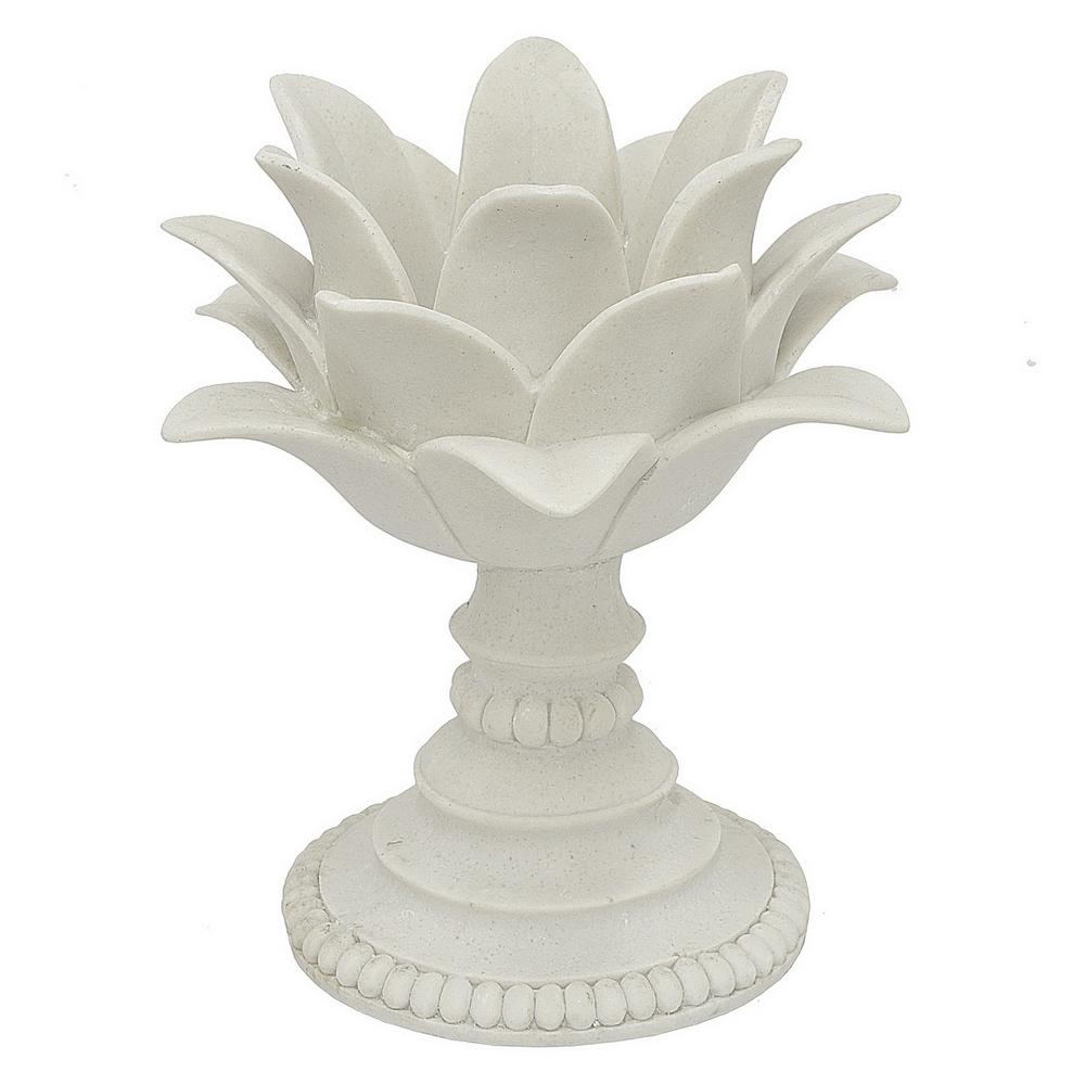 10 in. Decorative White Resin Lotus Flower Votive Holder in White