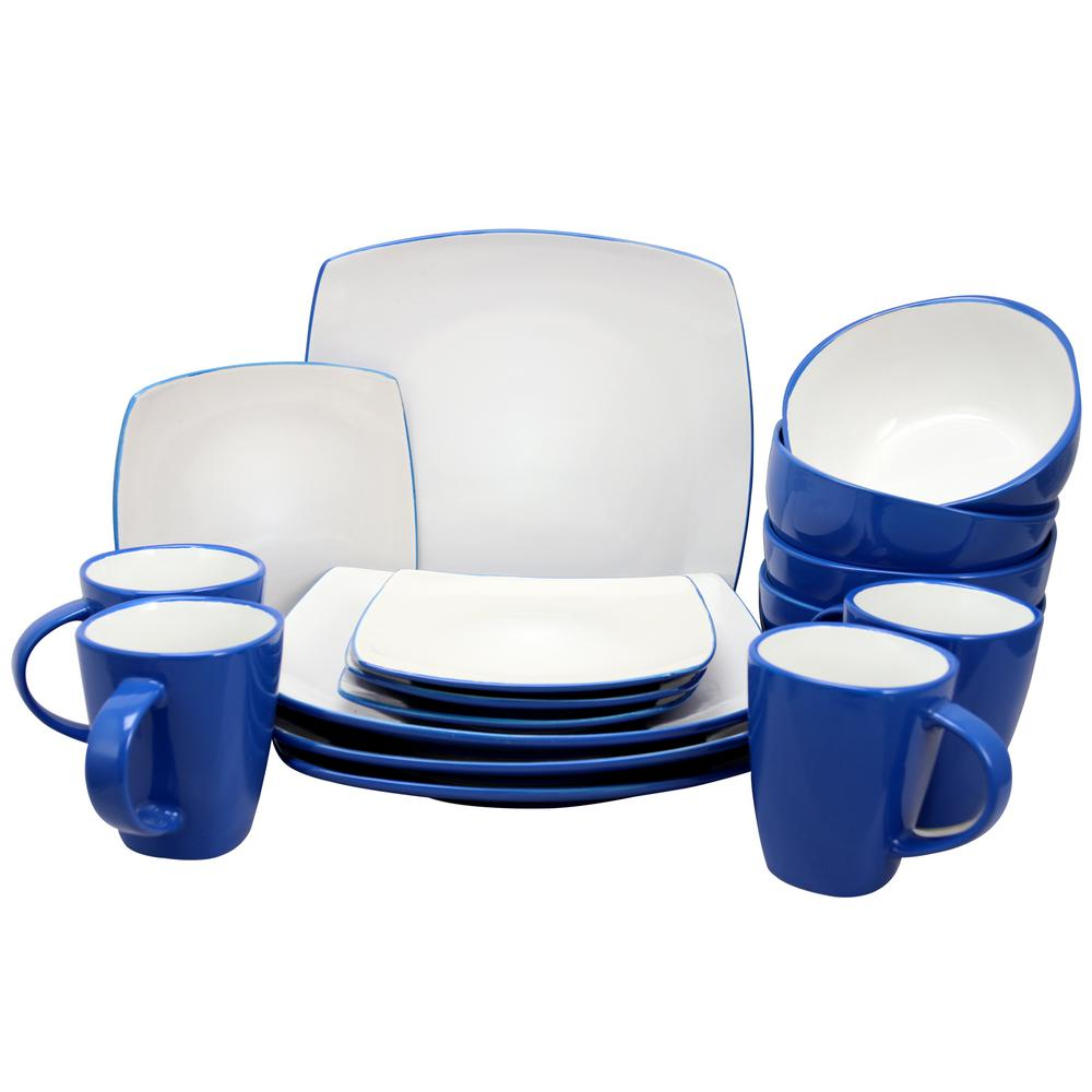 Soho Lounge 16-Piece Blue Color Dinnerware Set