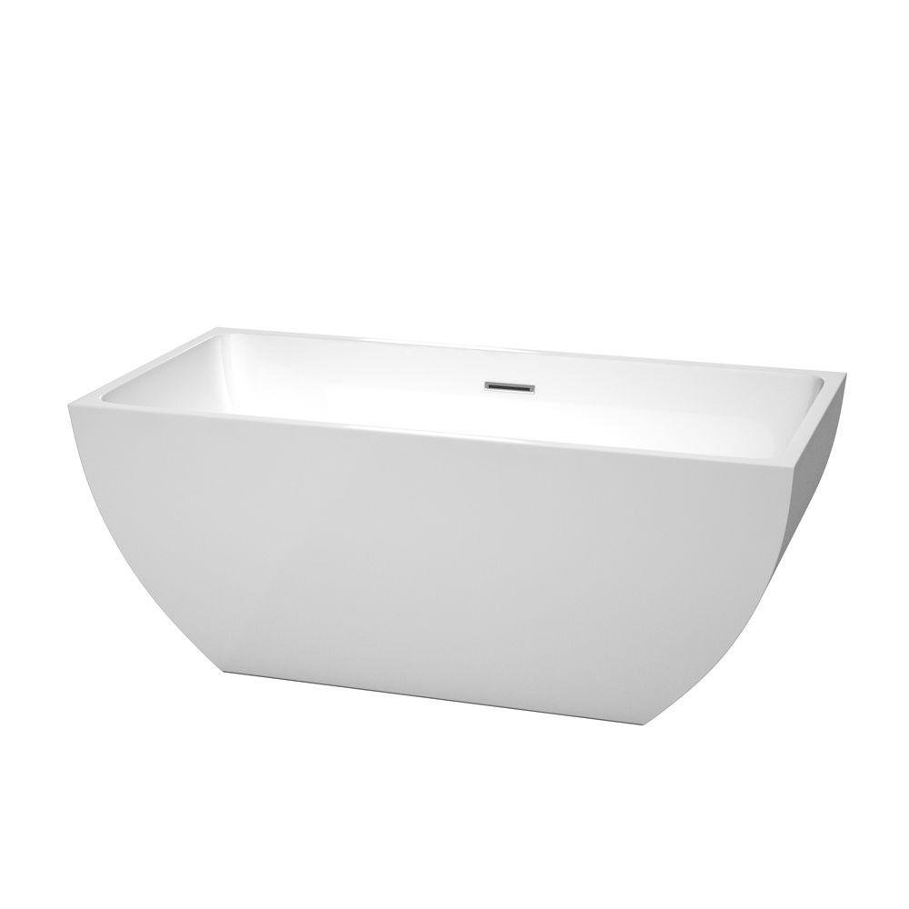 Rachel 59 in. Acrylic Flatbottom Center Drain Soaking Tub in White