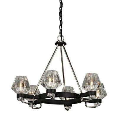 Faction 6-Light Forged Iron and Polished Nickel 28 in. W Chandelier with Clear Pressed Glass Shade
