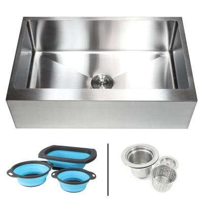 Farmhouse/Apron-Front 16-Gauge Stainless Steel 33 in. Flat Single Bowl Kitchen Sink with Collapsible Silicone Colanders