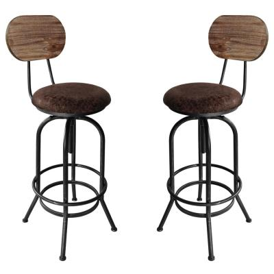 Adele Adjustable Brown Barstool (Set of 2)