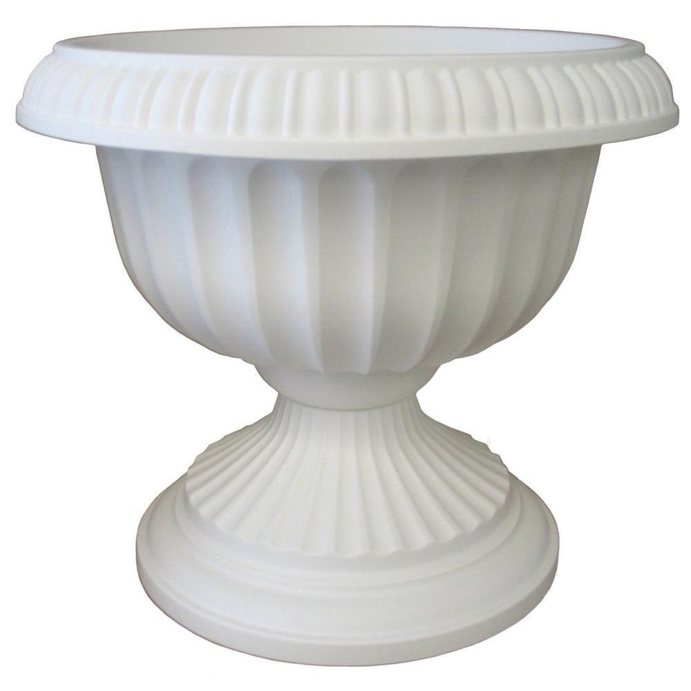 18 in. x 14-1/2 in. White Plastic Grecian Urn