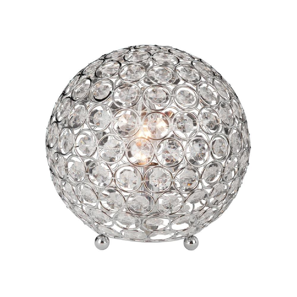 Elegant designs 8 in chrome and crystal ball table lamp lt1026 chrome and crystal ball table lamp geotapseo Choice Image