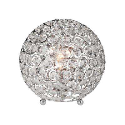8 in. Chrome and Crystal Ball Table Lamp