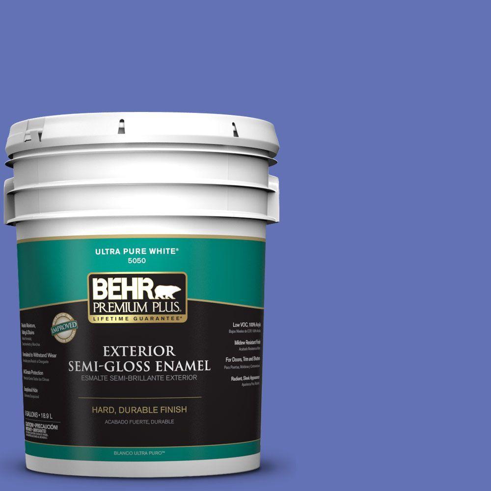 BEHR Premium Plus 5-gal. #P540-6 Wild Pansy Semi-Gloss Enamel Exterior Paint