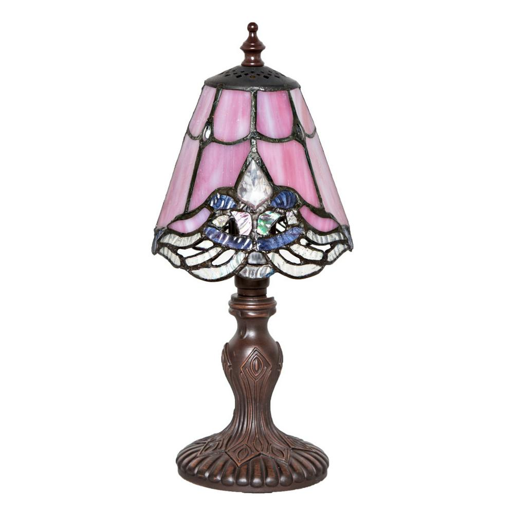 River Of Goods 12 25 In Light Pink Indoor Table Lamp With Stained