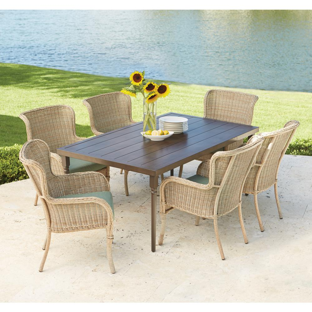 Hampton Bay Lemon Grove 7 Piece Wicker Outdoor Dining Set With Surplus Cushion