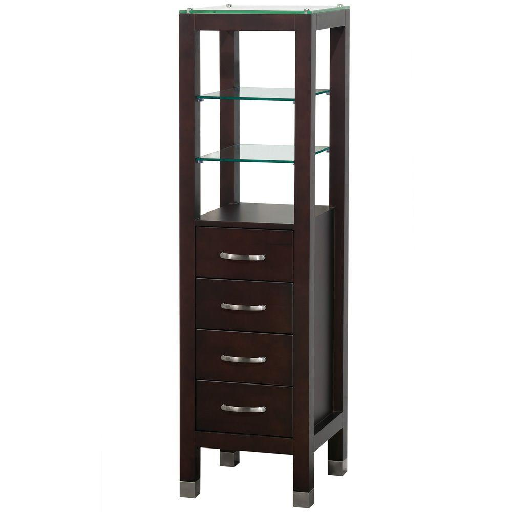 Wyndham Collection Fiona 16 1 4 In W X 59 3 H D Bathroom Linen Storage Tower Cabinet Espresso Wcsb800ltes The Home Depot