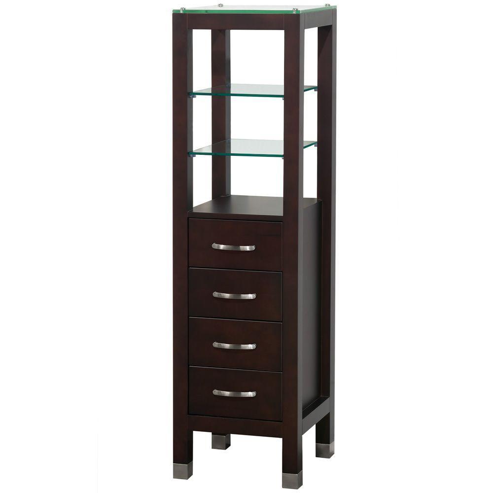 Fiona 16-1/4 in. W x 59-3/4 in. H x 16 in. D Bathroom Linen Storage Tower Cabinet in Espresso