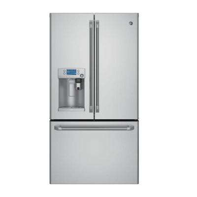 36 in. W 22.2 cu. ft. Smart French Door Refrigerator with Keurig K-Cup and Wi-Fi in Stainless Steel, Counter Depth