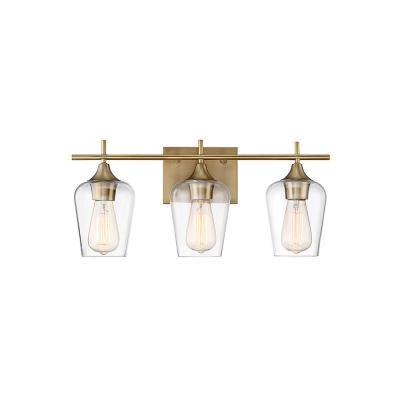 3-Light Warm Brass Bath Light