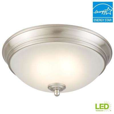 11 in. 60-Watt Equivalent Brushed Nickel Integrated LED Flushmount with Frosted White Glass Shade