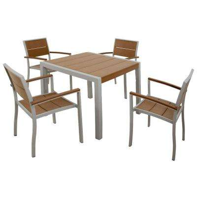 Surf City Textured Silver 5-Piece Plastic Outdoor Patio Dining Set with Tree House Slats
