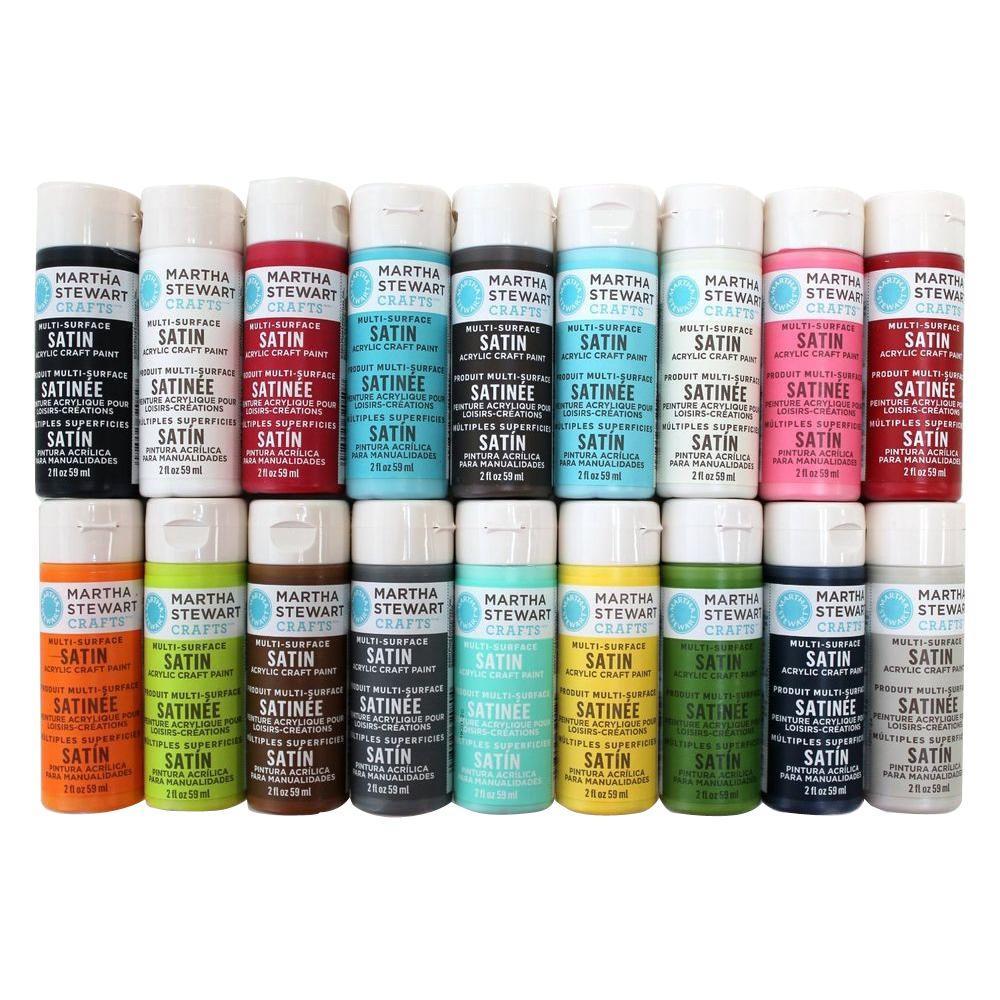 Martha Stewart Crafts 2 oz. 18-Color Multi-Surface Satin Acrylic Craft Paint Set