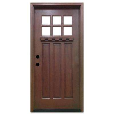Doors with glass wood doors the home depot craftsman 6 lite stained mahogany wood prehung front door planetlyrics Images