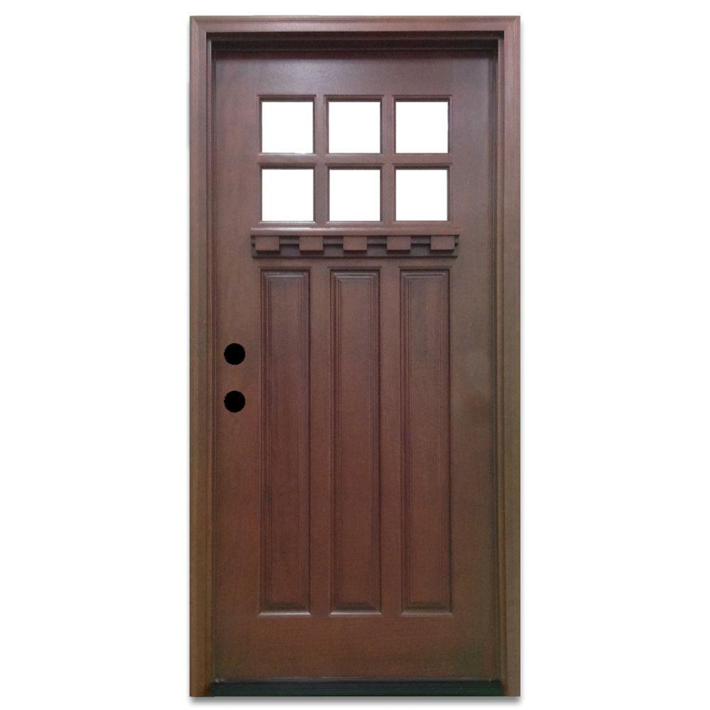 Steves sons 36 in x 80 in craftsman 6 lite stained - Fiberglass exterior doors canada ...