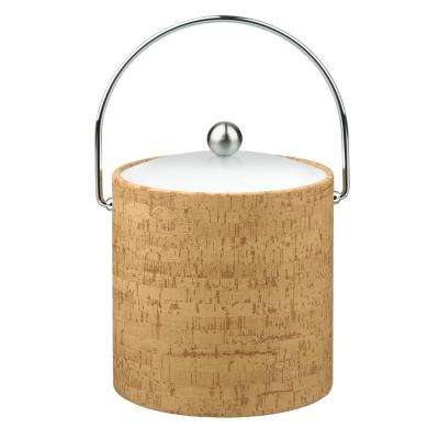 Natural Cork 3 Qt. Ice Bucket with Bale Handle, Lucite Lid