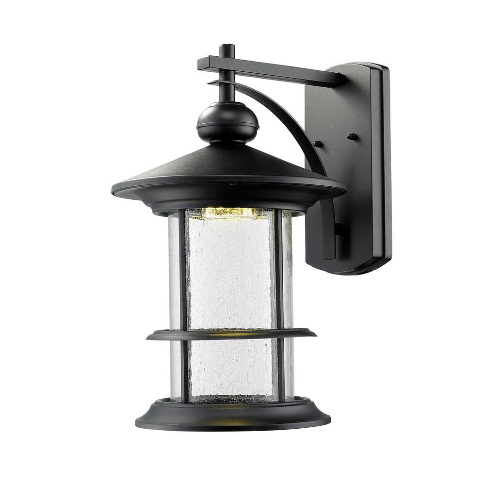 Burnim 1-Light Black LED Outdoor Wall Light with Clear Seedy Glass