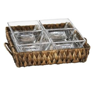 Garden Terrace 4 Sectional Server 1 sq.Glass Tray 7.75 in. ,1 in. H, 4 sq. Glass Bowls 3.75 in. , Water Hyacinth Holder