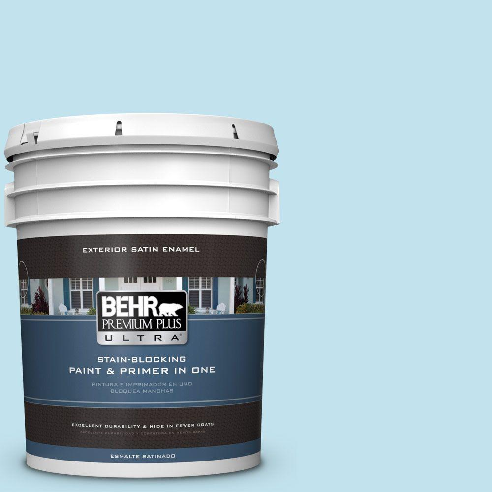 BEHR Premium Plus Ultra 5-gal. #540C-2 Serene Sky Satin Enamel Exterior Paint