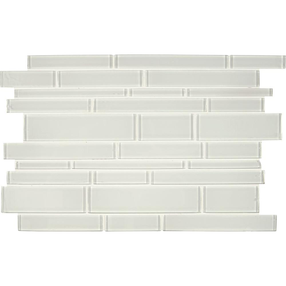 Ice interlocking 12 in x 18 in x 8 mm glass mesh mounted for Installing glass tile with mesh back