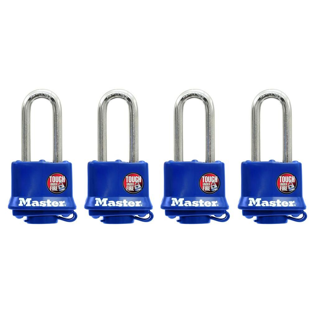 Master Lock 1-9/16 in. Weather Resistant Laminated Steel Padlock with 2 in. Shackle (4-Pack)
