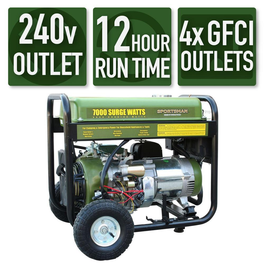 Sportsman 7,000/6,000-Watt Gasoline Powered Electric Start Portable  Generator