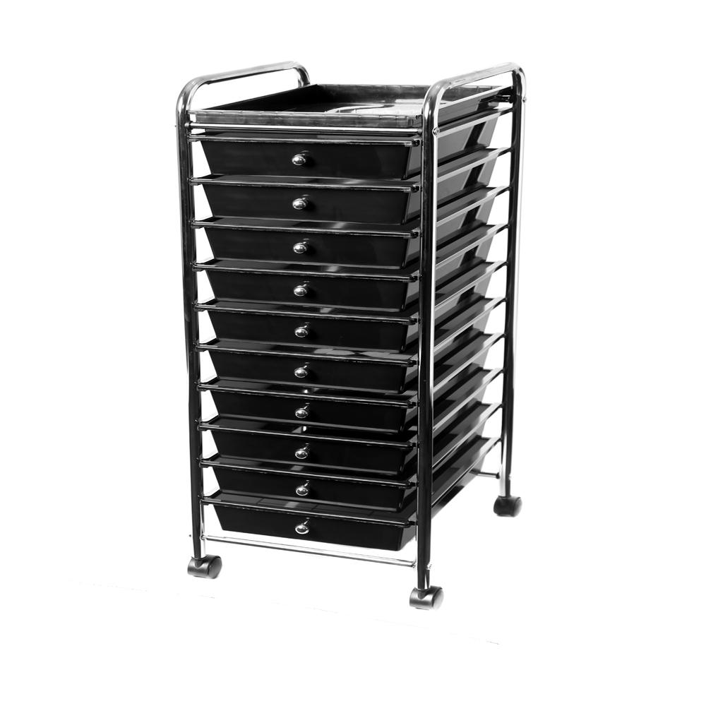 Bon Seville Classics 10 Drawer Polypropylene Wheeled Storage Organizer Cart  Black