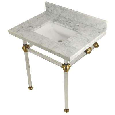 Square-Sink Washstand 30 in. Console Table in Carrara Marble with Acrylic Legs in Satin Brass