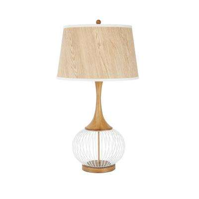 Felix 31.5 in. White Table Lamp with Faux Wood Shade