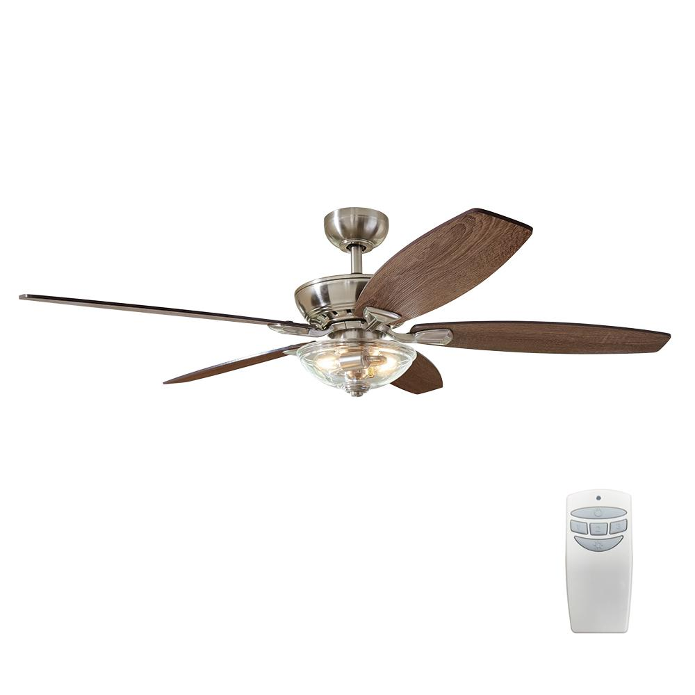 Connor 54 in. LED Brushed Nickel Dual-Mount Ceiling Fan with Light