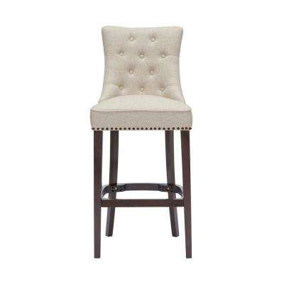 Bardell Upholstered Tufted Bar Stool with Biscuit Beige Seat and Nailheads (20 in. W x 45.47 in. H)
