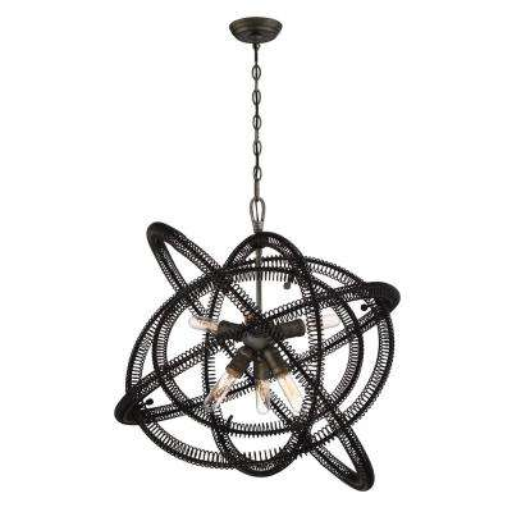 Orbita Collection 6-Light Bronze Chandelier with Vintage Bronze Shade