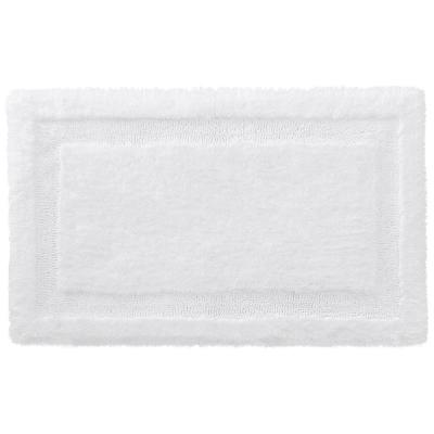 White 19 in. x 34 in. Non-Skid Cotton Bath Rug with Border