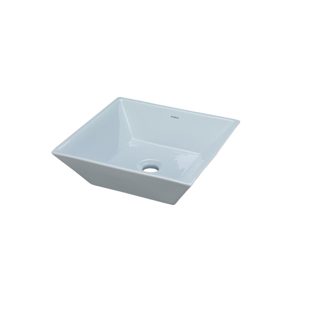 Attirant Ronbow Essentials Square Ceramic Vessel Sink In Sky Blue Without Overflow